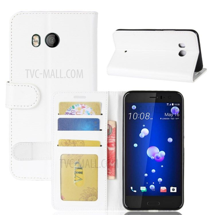 Image of   HTC U11 - læder cover/pung Crazy Horse med kortholdere - Hvid
