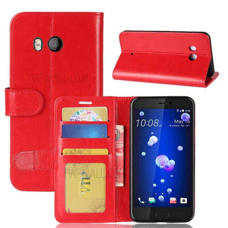 Image of   HTC U11 - Pu læder cover Crazy Horse med kortholdere - Rød