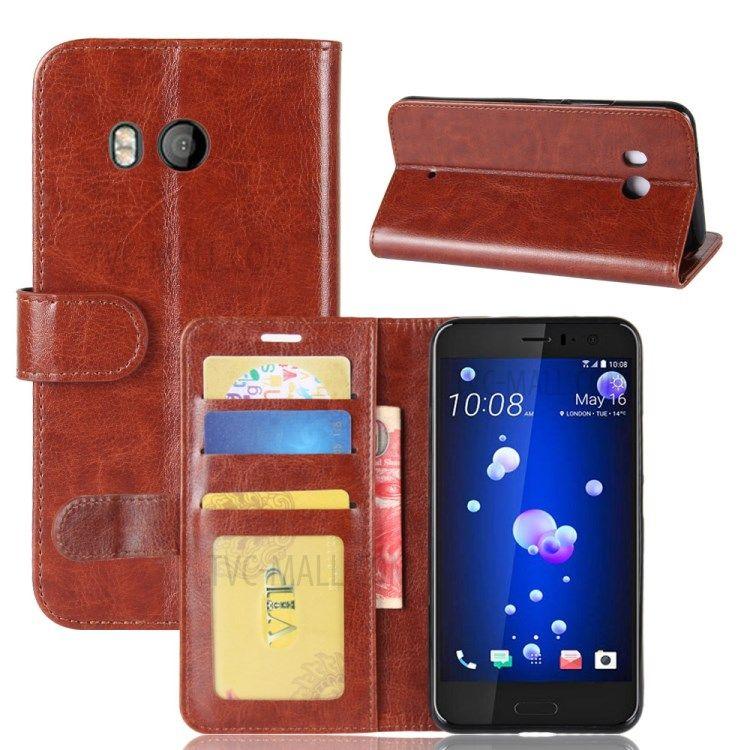 Image of   HTC U11 - Pu læder cover Crazy Horse med kortholdere - Brun