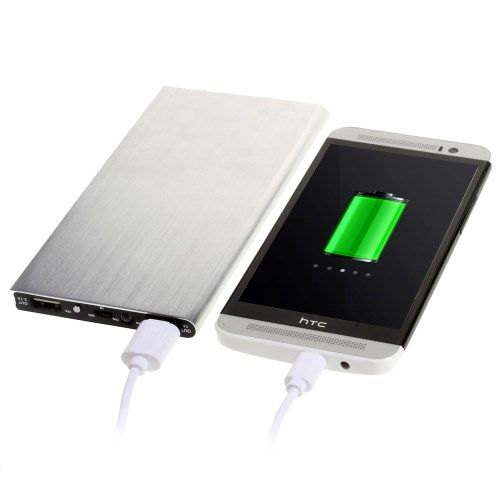 Image of   12000mAh Dual USB Brushed Metal Powerbank til iPhone Samsung HTC - Sølv