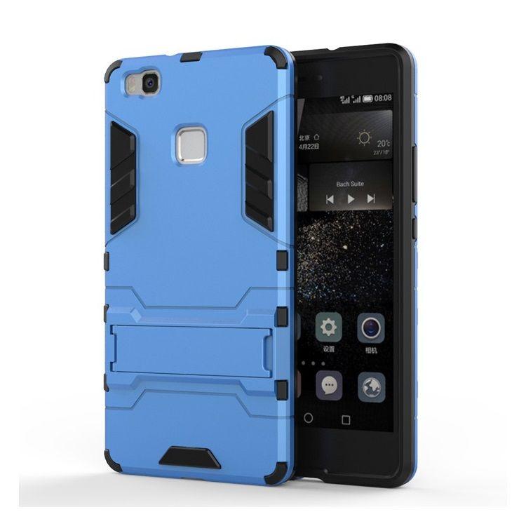 Huawei P9 Lite - Cool Stand Plastik + TPU Hybrid Etui - Lyseblå