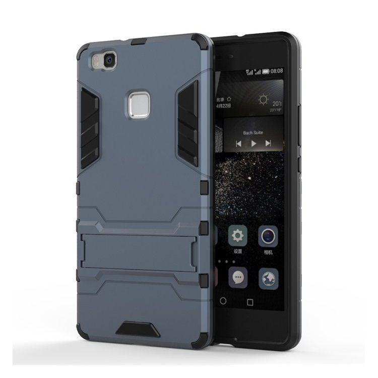 Huawei P9 Lite - Cool Stand Plastik + TPU Hybrid Etui - Mørkeblå