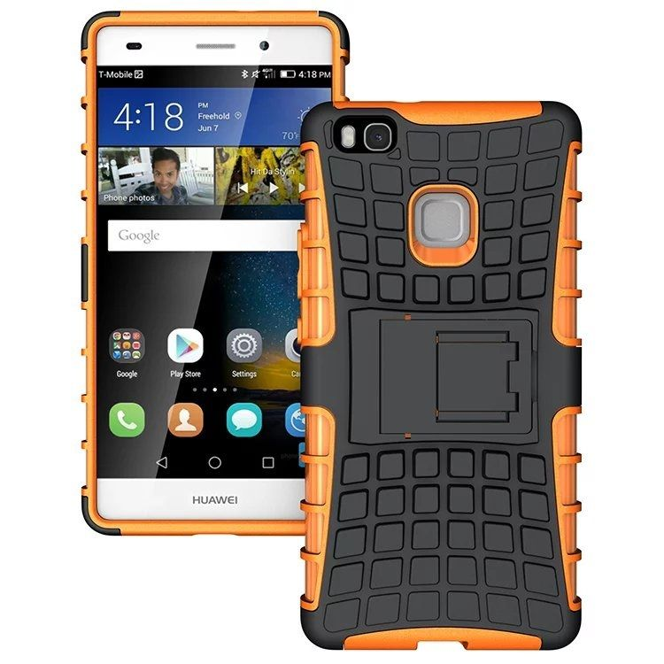 Image of   Huawei P9 Lite - Skridsikkert PC + TPU Hybrid Cover med Stand - Orange