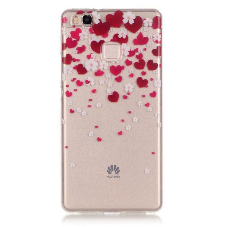Huawei P9 Lite / G9 Lite - IMD Klart TPU Cover - Røde Hjerter