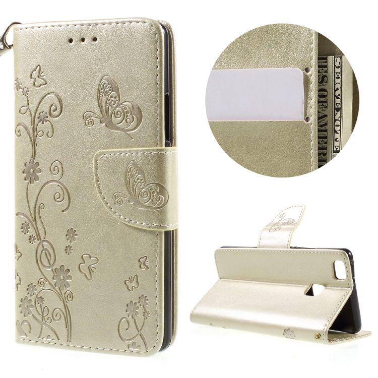 Huawei P9 Lite / G9 Lite - Præget Blomster læder cover / pung - Champagnefarve