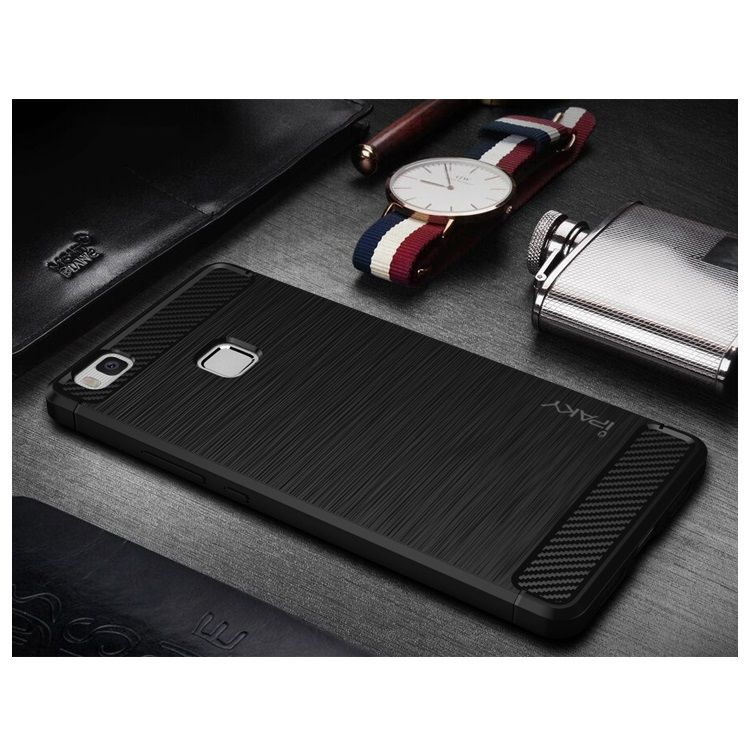 Image of   Huawei P9 Lite / G9 Lite - IPAKY Børstet Carbon fiber Cover - Sort