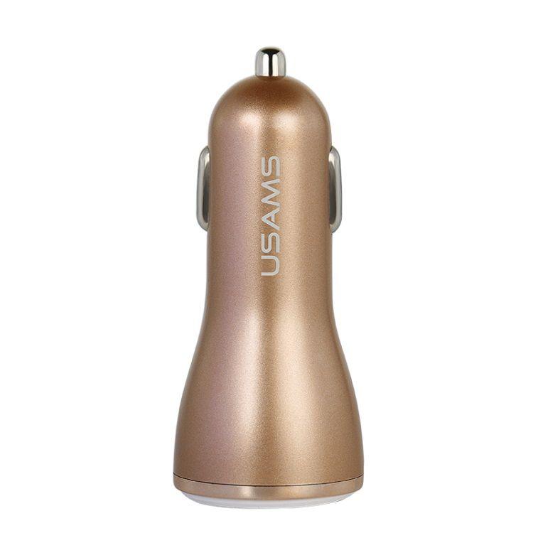 Image of   USAMS Dual USB Smart Oplader Til Bilen - Guldfarve
