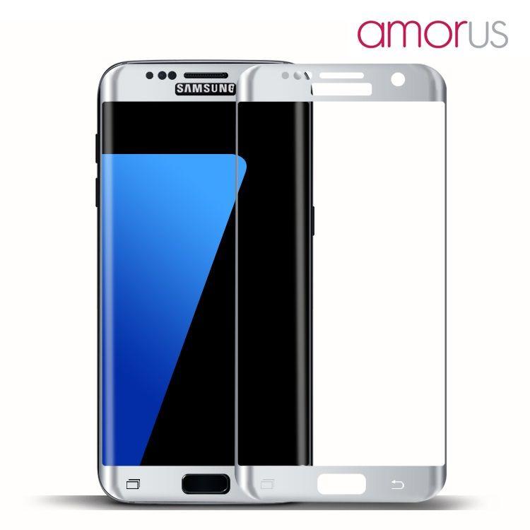 Image of   Galaxy S7 Edge - AMORUS Pletteret Hærdet Panserglas Komplet Beskyttelse - Sølv