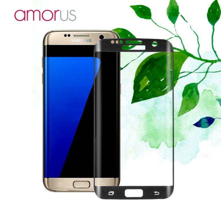 Image of   Galaxy S7 Edge - AMORUS Kurvet Hærdet Panserglas med Silkeprint - Sort
