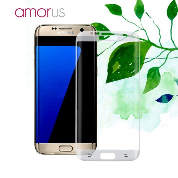 Image of   Galaxy S7 Edge - AMORUS Kurvet Hærdet Panserglas med Silkeprint - Transparent