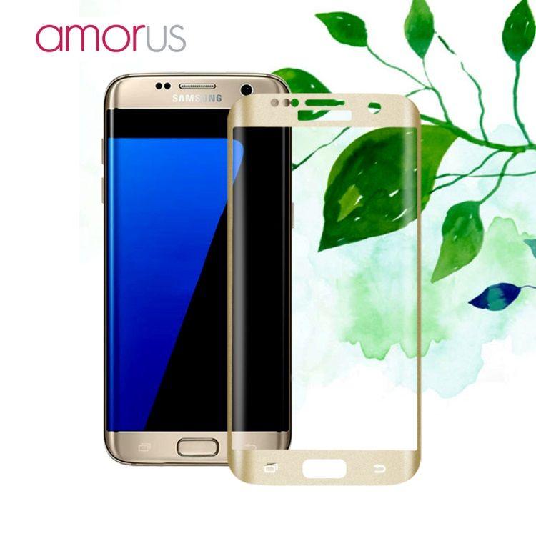 Image of   Galaxy S7 Edge - AMORUS Kurvet Hærdet Panserglas med Silkeprint - Guldfarve