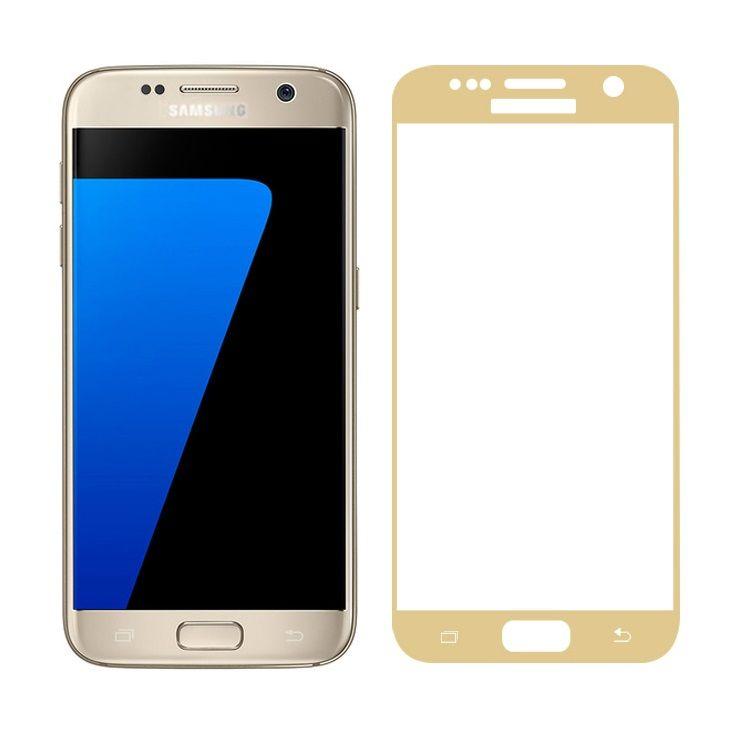Image of   Galaxy S7 - FEMA Hærdet 3D Kurvet Panserglas med Silkeprint - Guldfarve