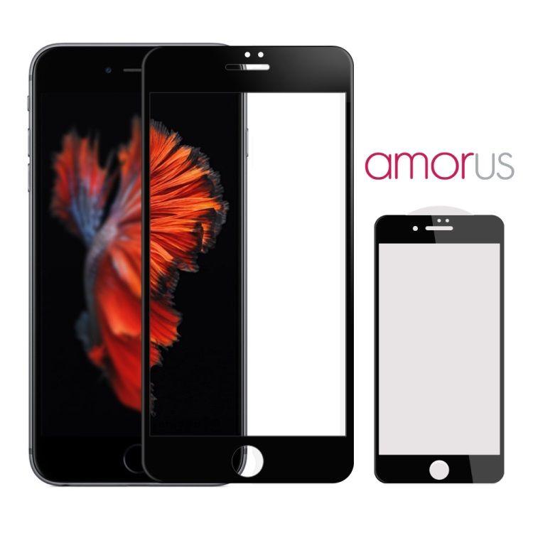 iPhone 7 - AMORUS 3D Kurvet Komplet Beskyttelse 0.3mm Panserglas - Sort