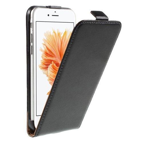 iPhone 6/6s - Ægte Split Læder Vertikalt Flip Cover - Sort