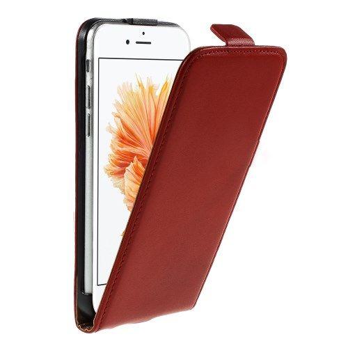 iPhone 6/6s - Ægte Split Læder Vertikalt Flip Cover - Rød