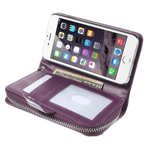 iPhone 6/6S - Læder Pung Cover + Aftagelig PC Etui - Lilla