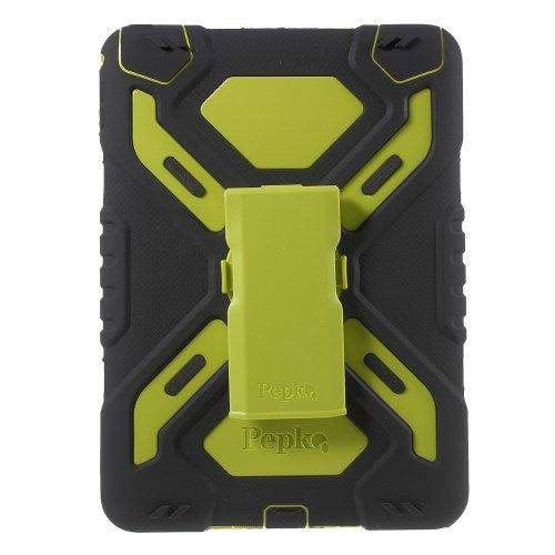 Image of   iPad Air 2 - PEPKOO Spider Serie Ekstra Kraftigt Hybrid Cover - Grøn/Sort