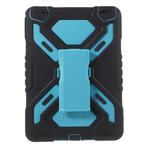 Image of   iPad Air 2 - PEPKOO Spider Serie Ekstra Kraftigt Hybrid Cover - Sort/Blå