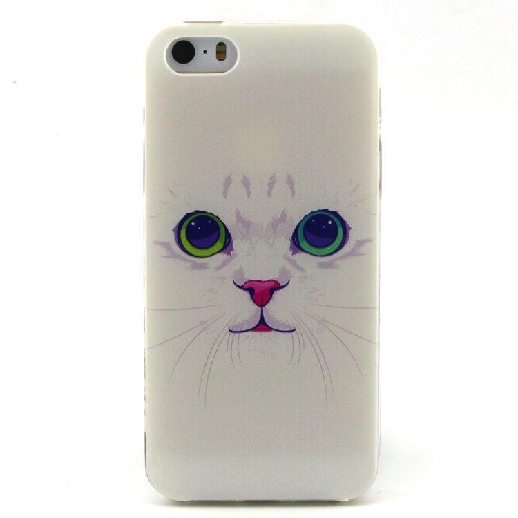 Image of   iPhone 5/5s/SE - TPU Beskyttende Cover - Hvid Kat