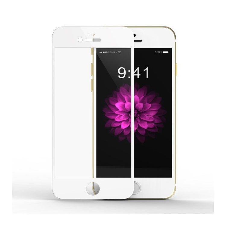 iPhone 6/6s - REMAX Hærdet Panserglas 9H Komplet Beskyttelse med Arc Edge - Hvid