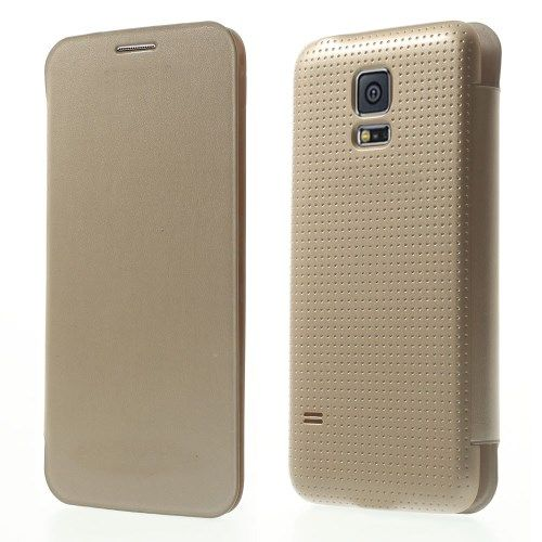 Image of   Galaxy S5 mini - Læder Flip Cover - Champagnefarve