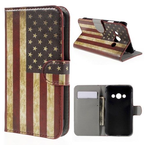 Image of   Galaxy Xcover 3 - Pung PU Læder Stand Cover - Vintage US Flag