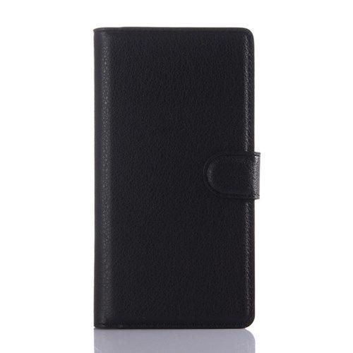 Sony Xperia Z5 / Z5 Dual - Litchi Skin Pung PU Læder Stand Etui - Sort