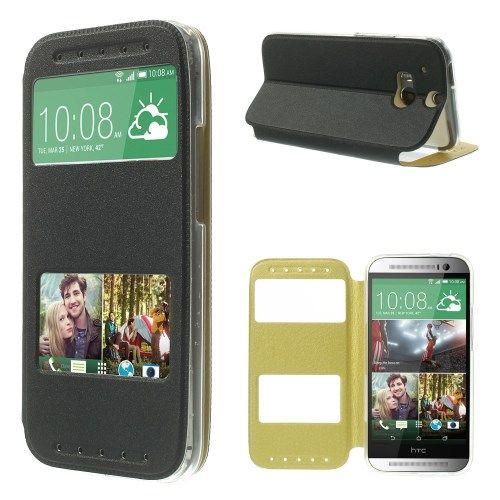 HTC One M8 - Sand-lignende PU Læder Etui med View - Sort