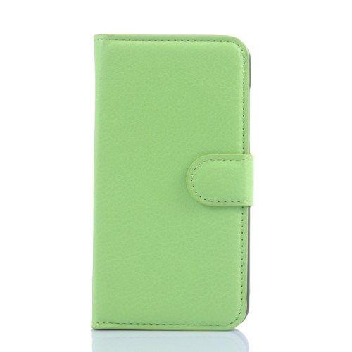 Huawei Ascend Y550 - Litchi Mønster PU Læder Pung Stand Etui - Grøn