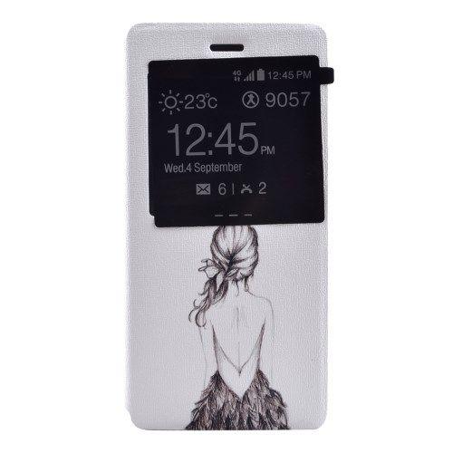 Image of   Huawei Ascend P8 Lite - Velduftende PU Læder Cover med View og Stand - Skitset Pige