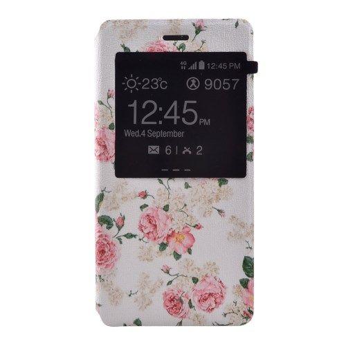 Image of   Huawei Ascend P8 Lite - Læder Cover med View og Stand - Blomstrende Roser