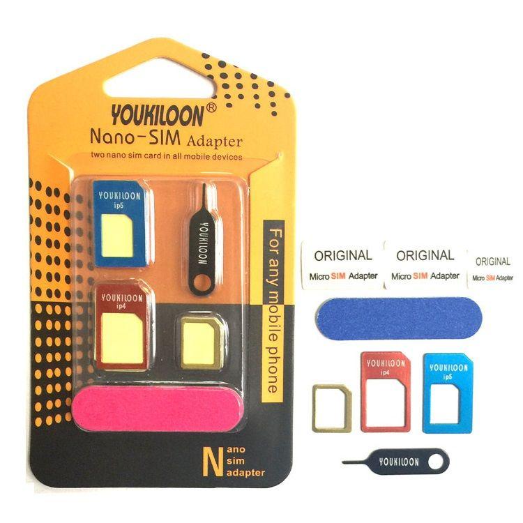 YOUKILOON 8-i-1 Nano Micro Standard Sim Card Adapter Converter Kit