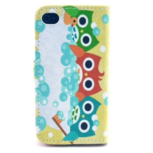 iPhone 4/4s - PU Læder Flip Cover - Søde Farvede Ugler