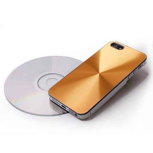 Image of   iPhone 5/5s/SE - CD Mønster Metal Skin Hard Etui - Guldfarve