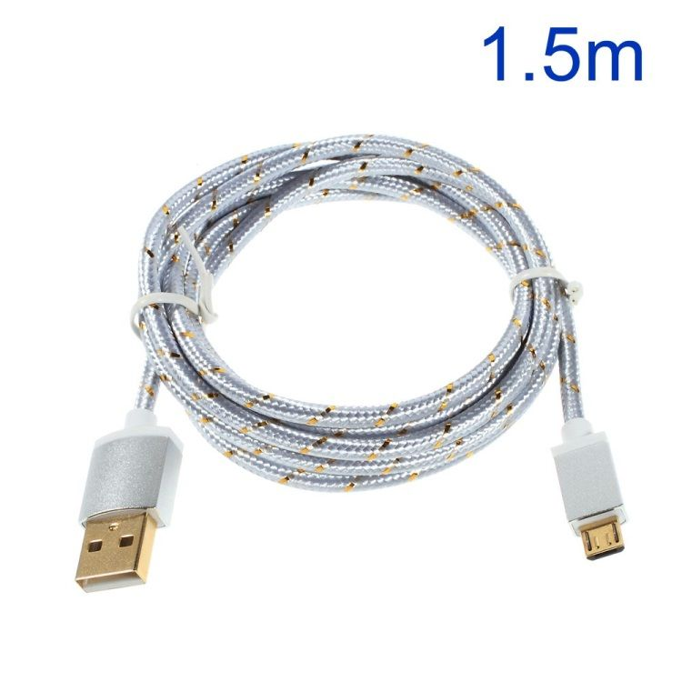 Image of   Premium 1.5M Micro USB 2.0 opladnings Kabel - Sølv