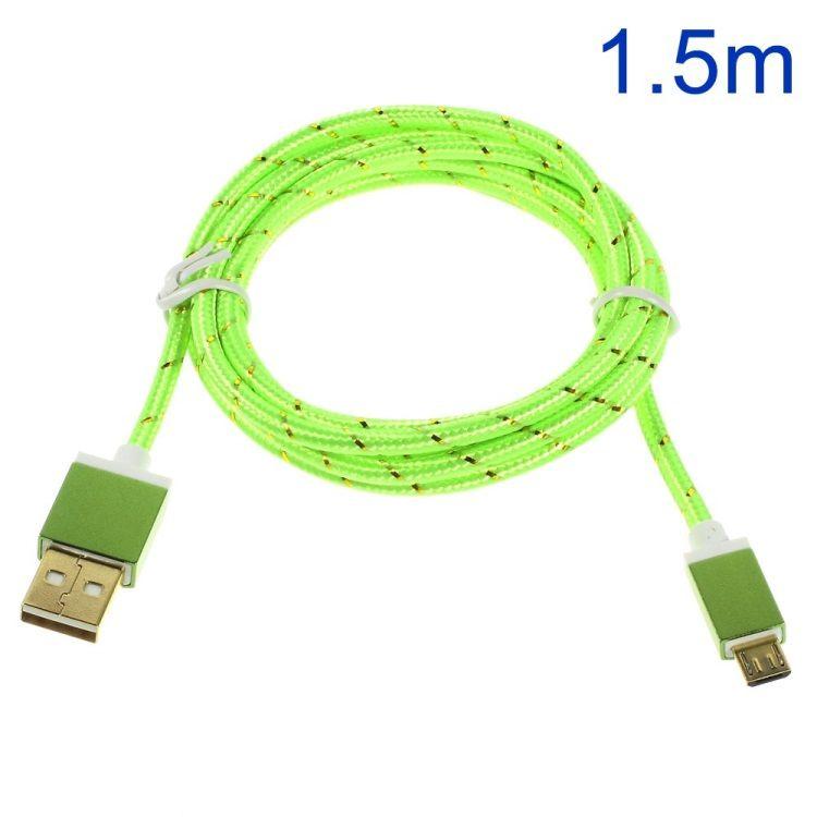 Image of   Premium 1.5M Micro USB 2.0 opladnings Kabel - Grøn