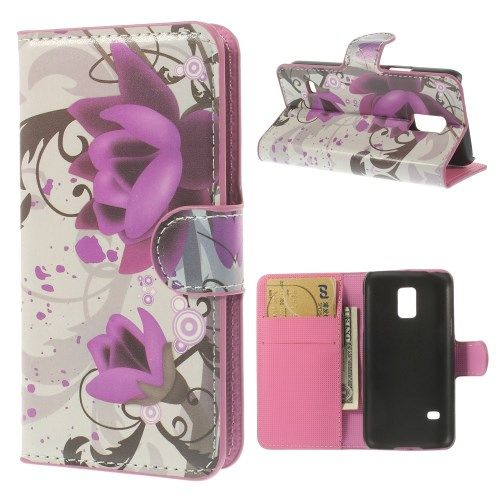 Image of   Galaxy S5 mini - Pung PU Læder Stand Cover - Elegant Lotusblomst