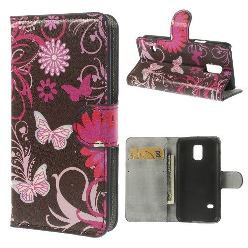 Image of   Galaxy S5 mini - Pung PU Læder Stand Cover - Sommerfugle og Blomster
