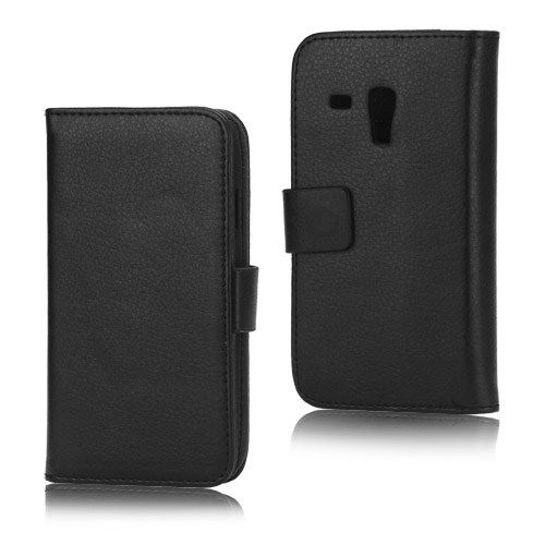 Image of   Galaxy S3 mini - læder cover / pung - Sort