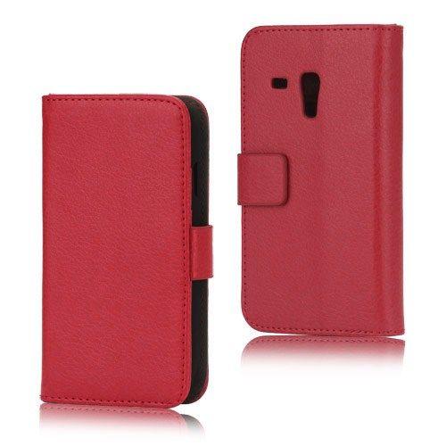 Image of   Galaxy S3 mini - Litchi PU Læder Stand Etui Diary Pung - Rød