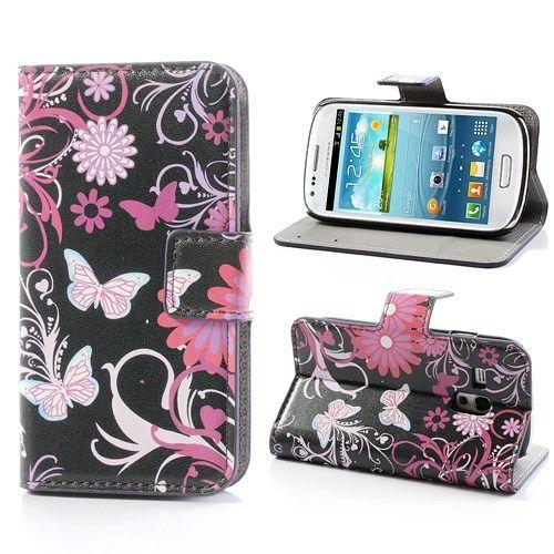 Image of   Galaxy S3 mini - Pung / Etui - Sommerfugle og Blomster