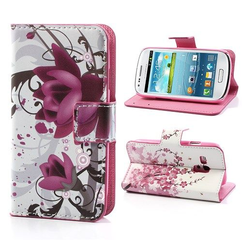 Image of   Galaxy S3 mini - Pung / Etui - Elegant Lotusblomst