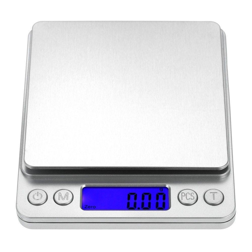 Image of   ACCURATE - Elektronisk Køkkenvægt op til 3KG inkl. 2 skåle - Rustfrit Stål