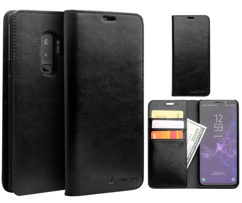 Samsung Galaxy S9 Plus - AZMARO ægte læder cover / pung - Sort