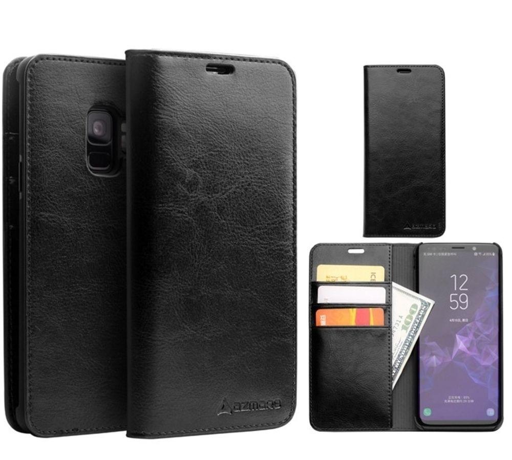 Samsung Galaxy S9 - AZMARO ægte læder cover / pung - Sort