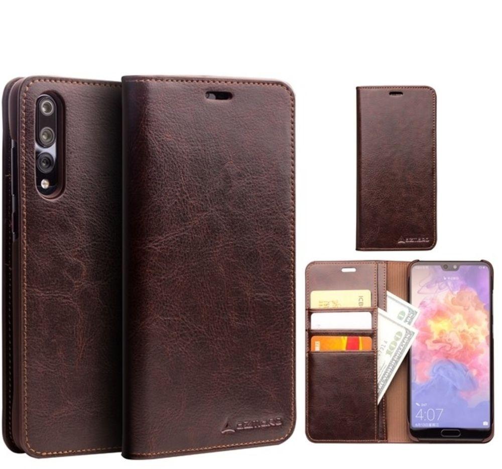 Huawei P20 - AZMARO ægte læder cover / pung - Brun