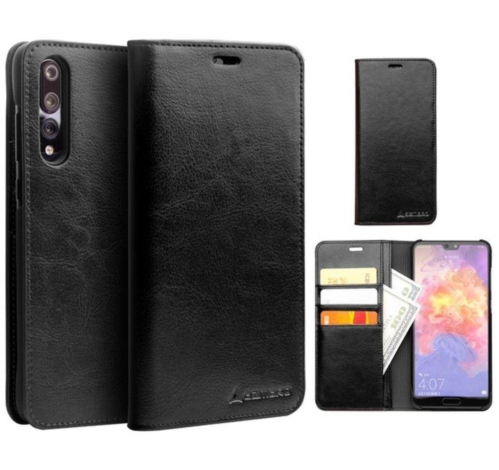 Huawei P20 - AZMARO ægte læder cover / pung - Sort