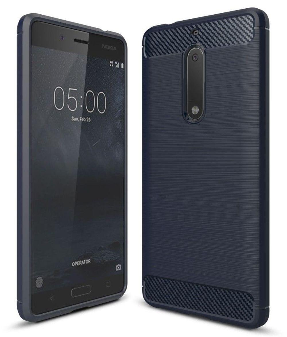 Image of   Nokia 5 - TPU cover med børstet look - Mørkeblå