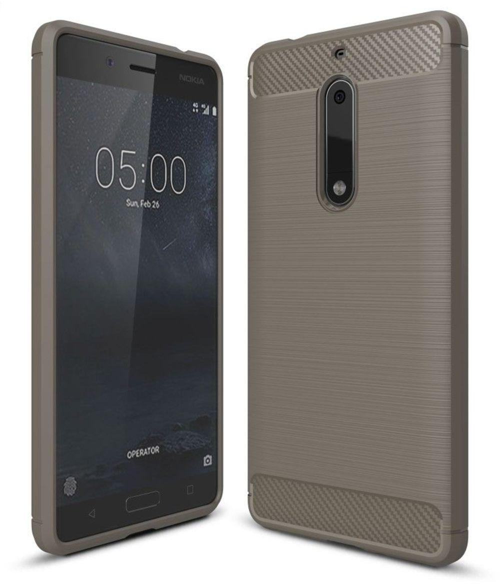 Image of   Nokia 5 - TPU cover med børstet look - Grå