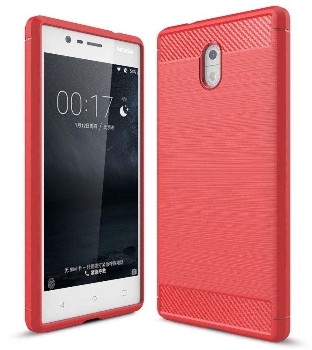 Image of   Nokia 3 - TPU cover med børstet design - Rød